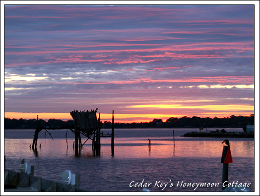 Cedar Key's Honeymoon Cottage at sunset